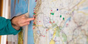 Pins on a map of Southern Africa depict various Bible translation projects